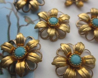 Vintage Swarovski Turquoise  Crystal Flower Finding With Hoops