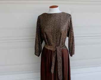 70s Lurex Maxi Dress . Brown Metallic Dress . R & K Originals . Medium Large
