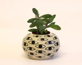 CUSTOM ORDER - RESERVED - Eye Pot - Black and White succulent ceramic holder