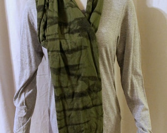 Military green olive organic cotton jersey tie dye scarf camo marbled design shaded wrap stretchy