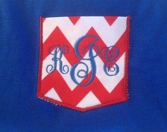 Monogrammed red chevron pocket appliquéd t-shirted
