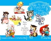 Digital Clipart, instant download, Vintage Kittens, little girl, playing piano, sewing basket birthday cake kitty kitten cat png files 183