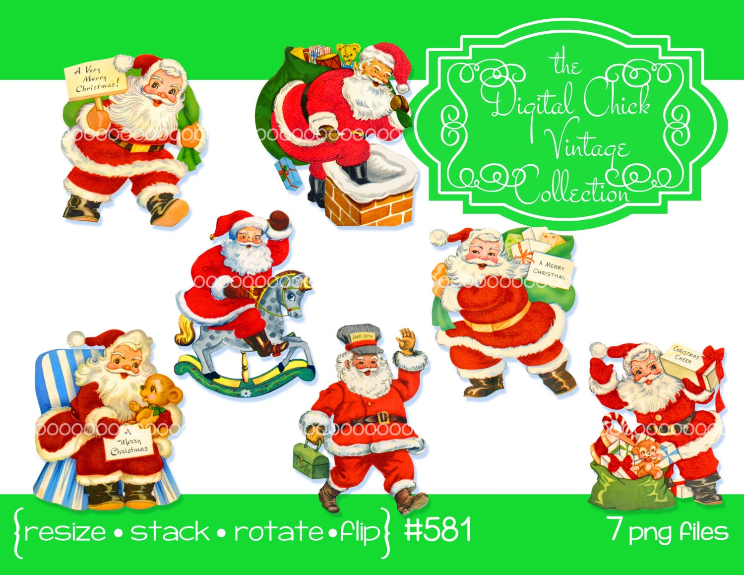 Bag Of Toys : Digital clipart instant downloads vintage santa claus