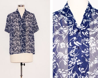 Vintage Blue & White Printed Sheer Blouse