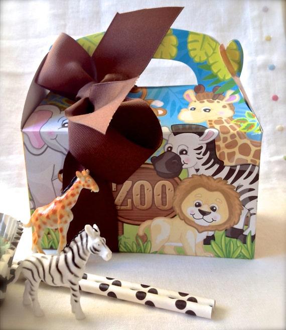 Zoo Safari Party Favor Gabled Treat Box-Set Of 10