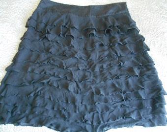 Black silk tiered frilled  skirt UK 16 Monsoon US 12
