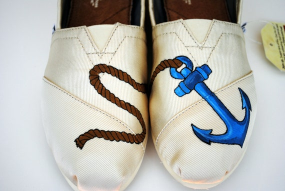 Blue Anchor Womens Custom Hand Painted TOMS Anchor Design on Natural Canvas shoes