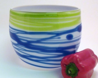 Blue and Green Abstract Wrap Bowl