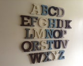 Full Wooden Alphabet - Hand Painted Wooden Letters Set - 26 letters - 12cm high