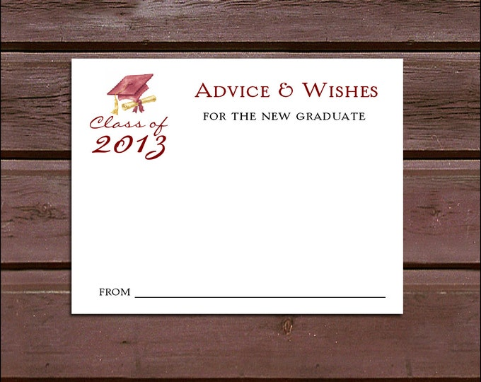 25 Graduation Advice and Wishes.  Wedding Favors