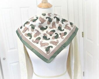 Vintage 1960s Scarf, Rockabilly Head Scarf Bandanna, Retro Hair Scarf Wrap, Forest Green Brown Scarf, Paisly Print Scarf, Summer Fall Scarf