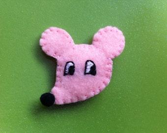 Pink Rat felt brooch