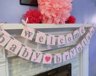 BABY Shower Decorations - Welcome Baby Banner- CHEVRON Baby Shower Banner- Birth Announcement- You pick the colors