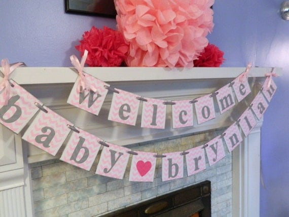 Baby shower decorations welcome baby banner chevron baby for Baby welcome party decoration ideas