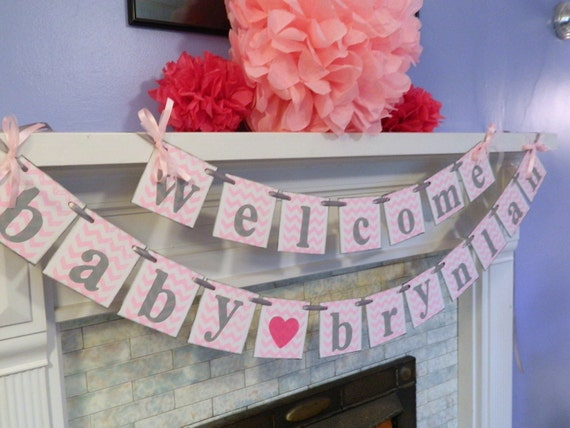 Baby shower decorations welcome baby banner chevron baby - Baby shower chevron decorations ...