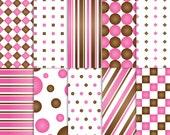 Brown and Pink Scrapbook Paper, Printable Brown and Pink paper, printable Brown and Pink scrapbook paper, Brown and Pink paper, baby girl