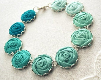 Grecian Green Flower Bracelet - Fabric Flower Bracelet in Jade, Aloe, Pond and Ice Frappe
