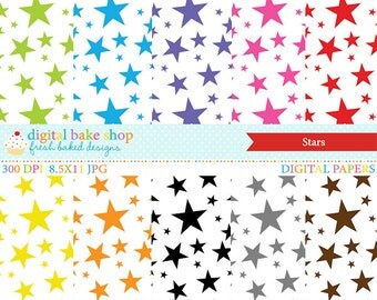 digital papers stars bright colorful - Stars Papers