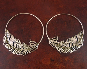 Feather Hoop Earrings - Bronze Feather Hoop Earrings