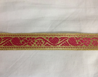 2 yards pink and gold Indian ethnic design  decorative sari border