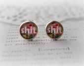 """Round Glass """"Shit"""" Stud Earrings"""