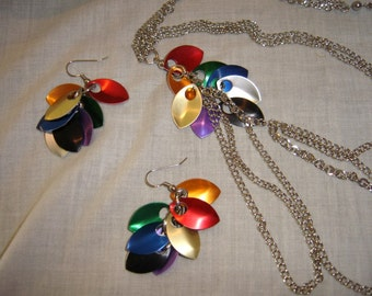 Dragon scale pride earrings with matching upcycle necklace chain mail colorful scales jewelry set