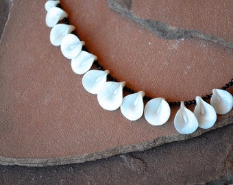 Polyme Clay Necklace, White Lily Necklace, Pearly White Polymer Clay Petals, Asymmetrical, Onyx