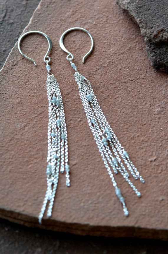 Rough Diamond Earrings, Faceted Raw Diamonds, Conflict Free, Long Delicate Chains, Sterling Silver
