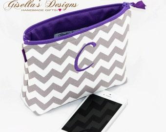 Personalized zipper clutch,  custom made zipper pouch, monogram iPhone clutch.