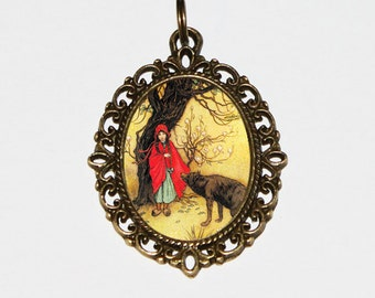 Red Riding Hood Necklace, Warwick Goble, Big Bad Wolf, Pendant Necklace