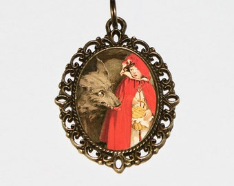 Red Riding Hood Necklace, Oval Pendant