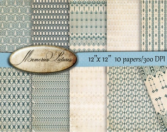 Art deco,  Light blue,  beige,   Digital  12 x12 in  Decoupage texture, Commercial Use,  10 scrapbooking papers  to  INSTANT Download (61
