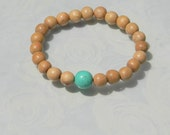Bracelet~ wood and turquoise