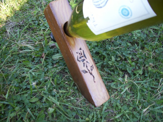 Reclaimed barnwood wine balancer rose design wine bottle - Wine bottle balancer plans ...