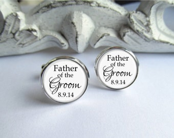 Father Of The Groom Cufflinks, Wedding Cufflinks, Personalized Date Cufflinks