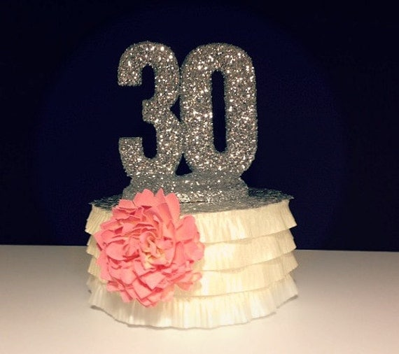 Cake Toppers Birthday Etsy : Items similar to CAKE TOPPER 30th BIRTHDAY Anniversary on Etsy