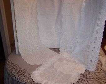 6 Pc set eyelet doilies, doily white ornate embroidery embossed, Shabby cottage chic cotton table runner..Reduced..Was 17.49
