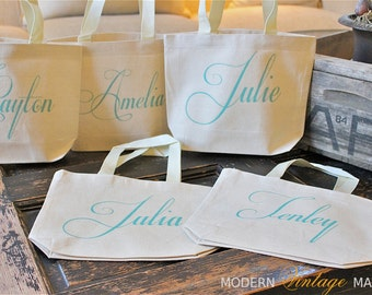 "6 Wedding tote bags,""THE CAPRICCO"" MINI"",Personalized,Flower Girl bags,gifts,Wedding,Bridesmaids,Monogrammed Tote Bags,Modern Vintage Market"