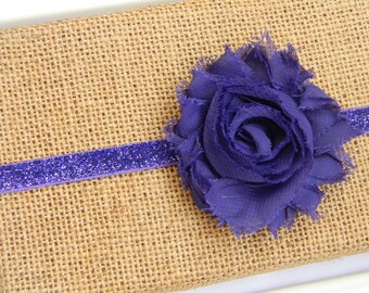 Purple Chiffon Flower Headband, Baby Headband, Infant Headband, Purple Flower Headband, Purple Glitter Headband