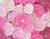 Fabric Yo yos in PINK palette Fabric Yoyos / Pink yoyos / Fabric Flowers / headband supplies / yoyo embellishments by WhiteLilyFlowers