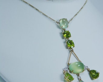 Estate Jewelry 18K Yellow Gold Green Peridot Chalcedony Diamond Necklace Ret 2950 Dollars