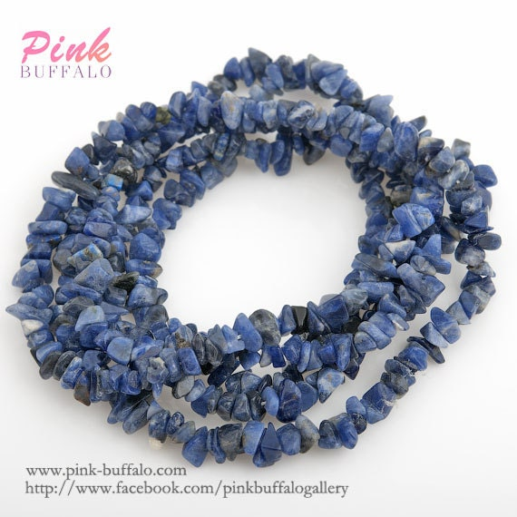 Small Size Beads: Sodalite Chips Semi Precious Beads Small Size 3-6mm Strand