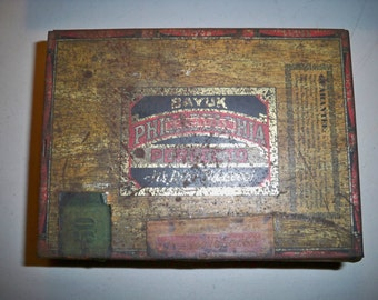 Vintage Bayuk of Philadelphia Perfecto Phillies Cigar Tin w/NRA (National Recovery Act) Sticker