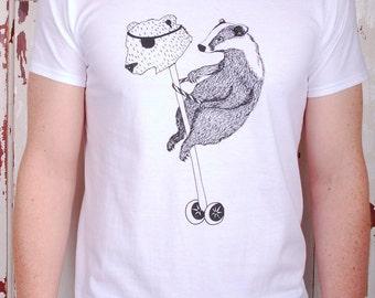 Badger T-Shirt - gift for him badger and bear tee animal t-shirt