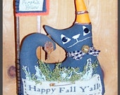 Primitive Folk Art Whimsy Fall Witch Cat Doll Flag Stick Shelf Sitter Decor