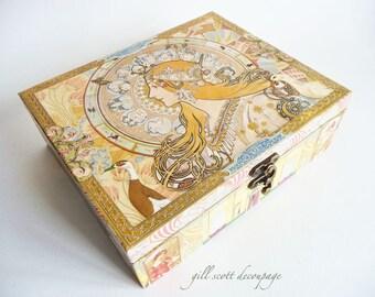 Alphonse Mucha Keepsake box - Romantic Art Nouveau box - Tarot Card Storage - Zodiac Mucha - Decoupage box - Romantic gift idea - OOAK