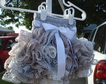 6-12 month ruffle tutu skirt in grey, silver, white and tan with white ribbon