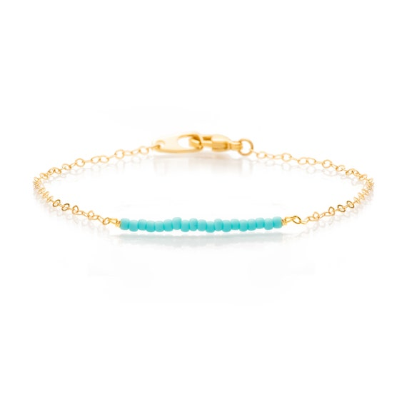 Tiny Matt Turquoise Bead Bar on a Delicate Gold Chain Bracelet