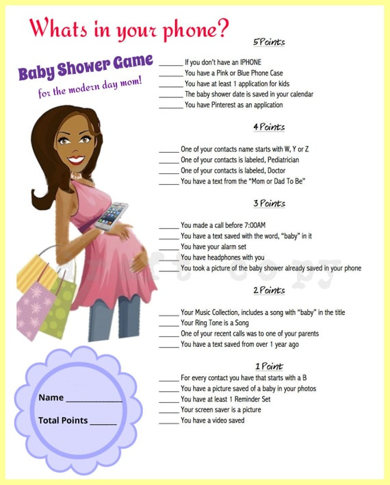 Dynamite image within what's in your phone baby shower game free printable