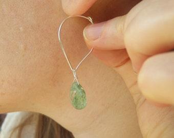 Green Quartz Leaf Hoops, leaf hoops, nature, genuine gemstone, 1.75 inches